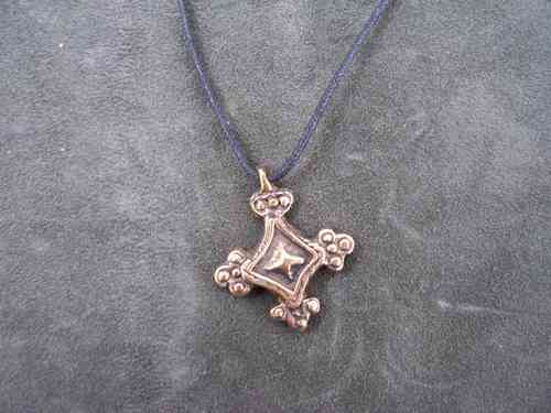 Slavic cross pendant out of bronze