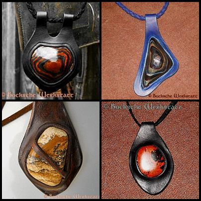 Leather jewelry-pendant in stone and leather