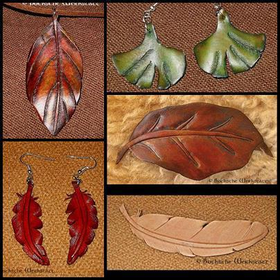 Leather Jewelry - feather and leaves