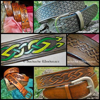 Carved leather belt