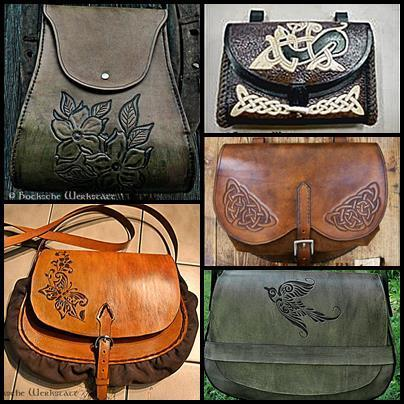 Workshop Leather bag- carved pattern