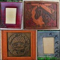 Pictures and picture frames of leather